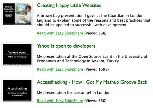 screenshot of my list of presentations created with the slidesharelist plugin for wordpress