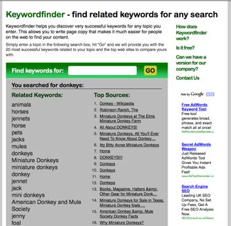 Screenshot of Keywordfinder.org
