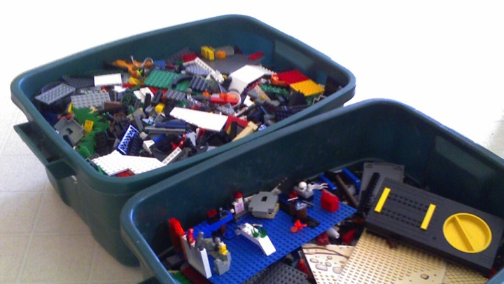a big box of lego bricks