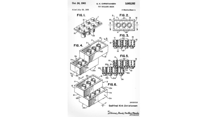 the patent paintings of the lego brick