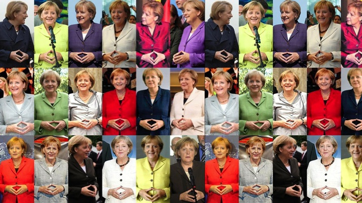 German head of state doing the same closed hand gesture over and over again