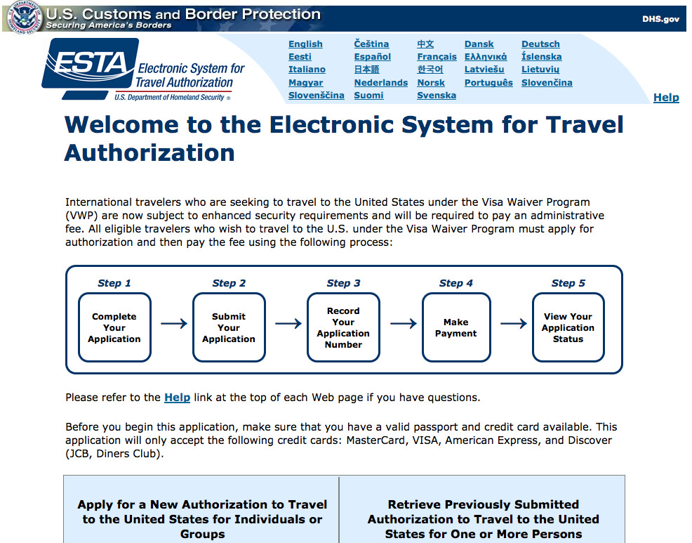 The ESTA web site