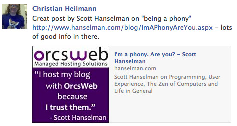 scott hanselman post shared on Facebook with a wrong thumbnail