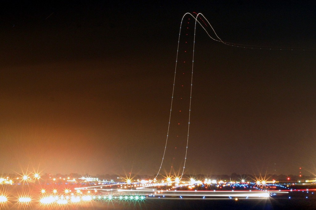 plane taking off long exposure