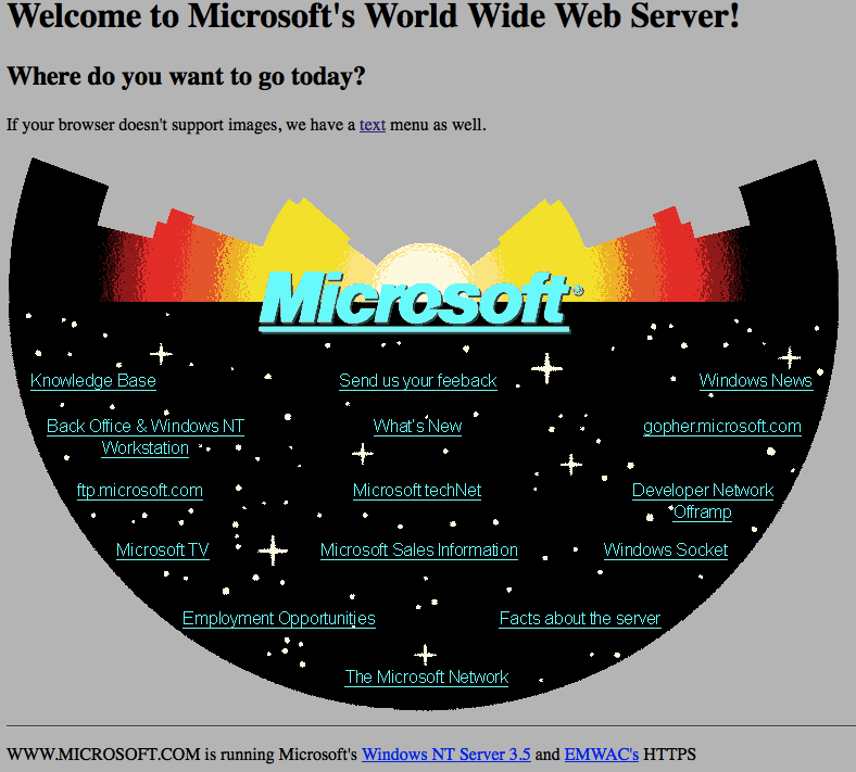 microsoft's first web site