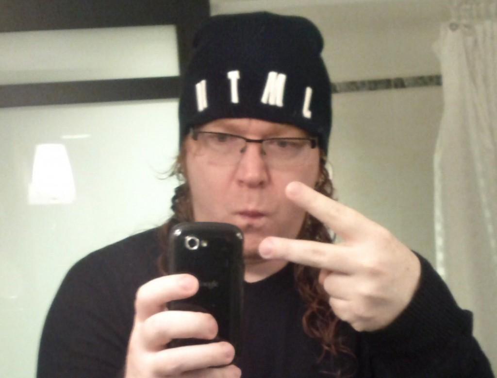 me, wearing my HTML beanie