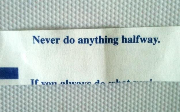 never do anything halfway