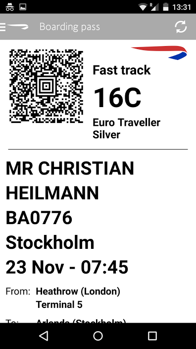 Mobile boarding pass in app