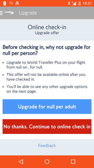 Mobile app offering an upgrade for 'null'