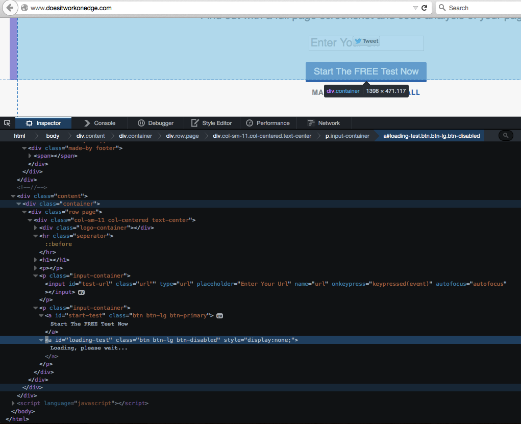 screenshot of the page source code