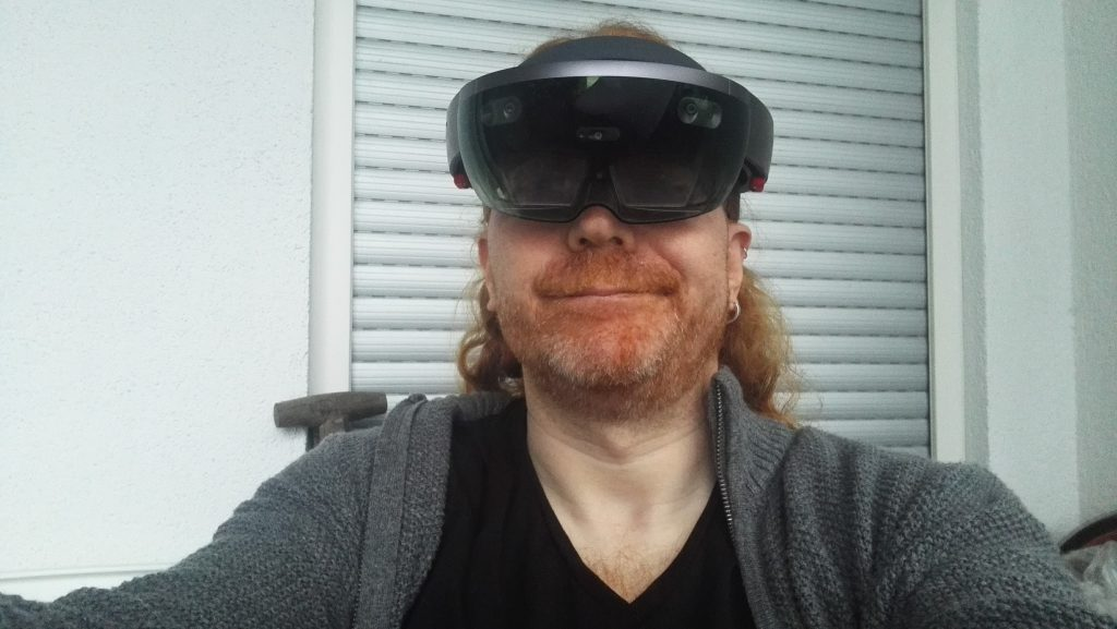 Chris Heilmann with his HoloLens