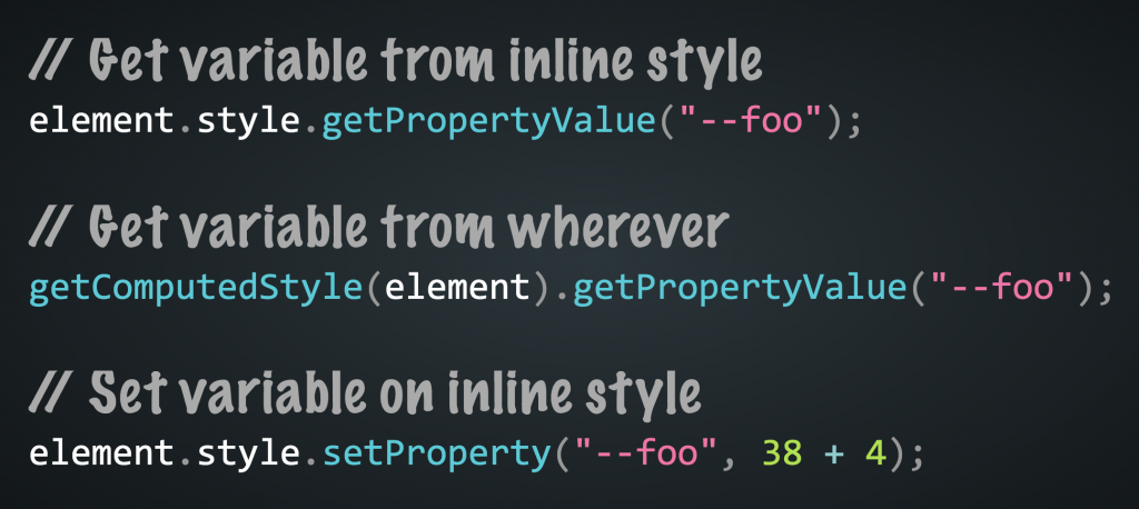 Example of reading and setting CSS Custom properties in JavaScript