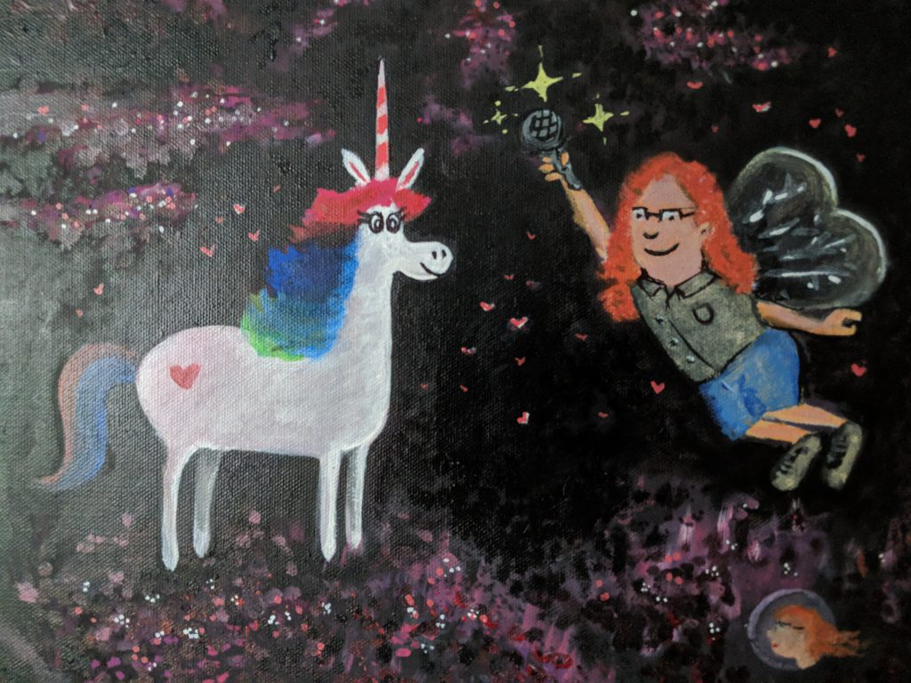 Chris and unicorn in oil