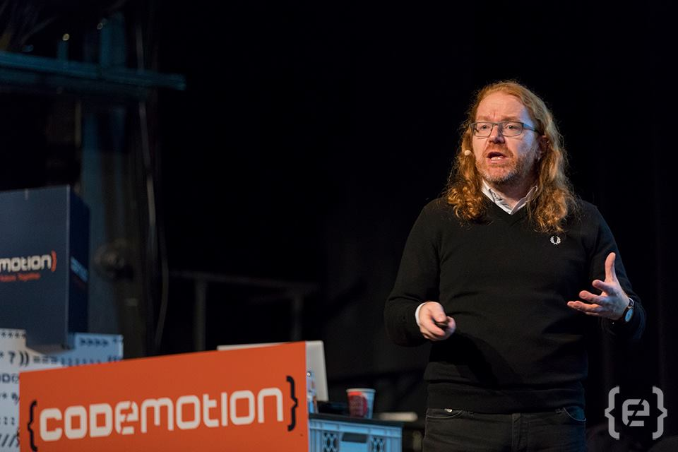 Christian Heilmann presenting at Codemotion Berlin