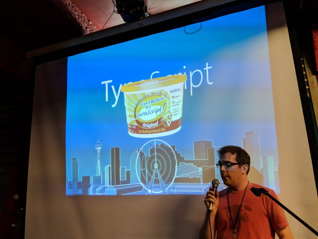 Rob Bateman with his TypeScript joke