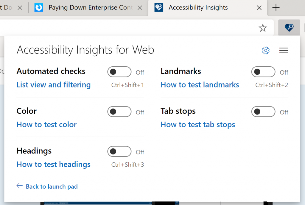 Ad Hoc Tool options of accessibility insights