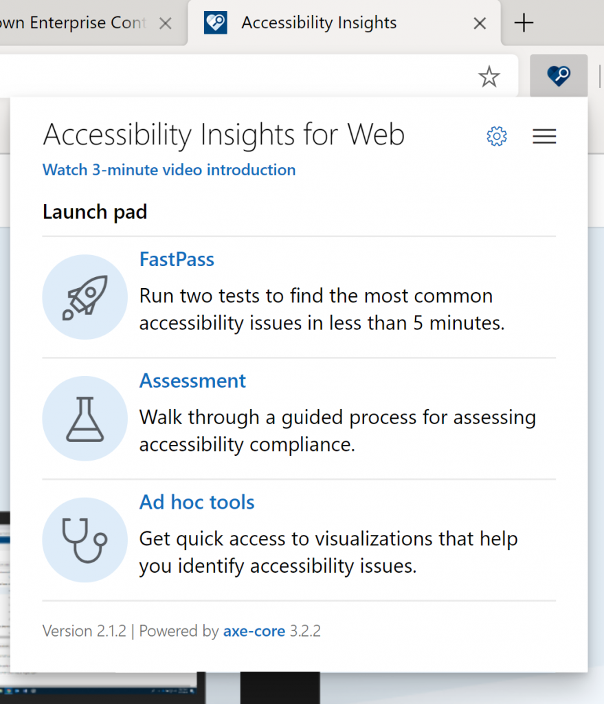 accessibility insights extension options after install