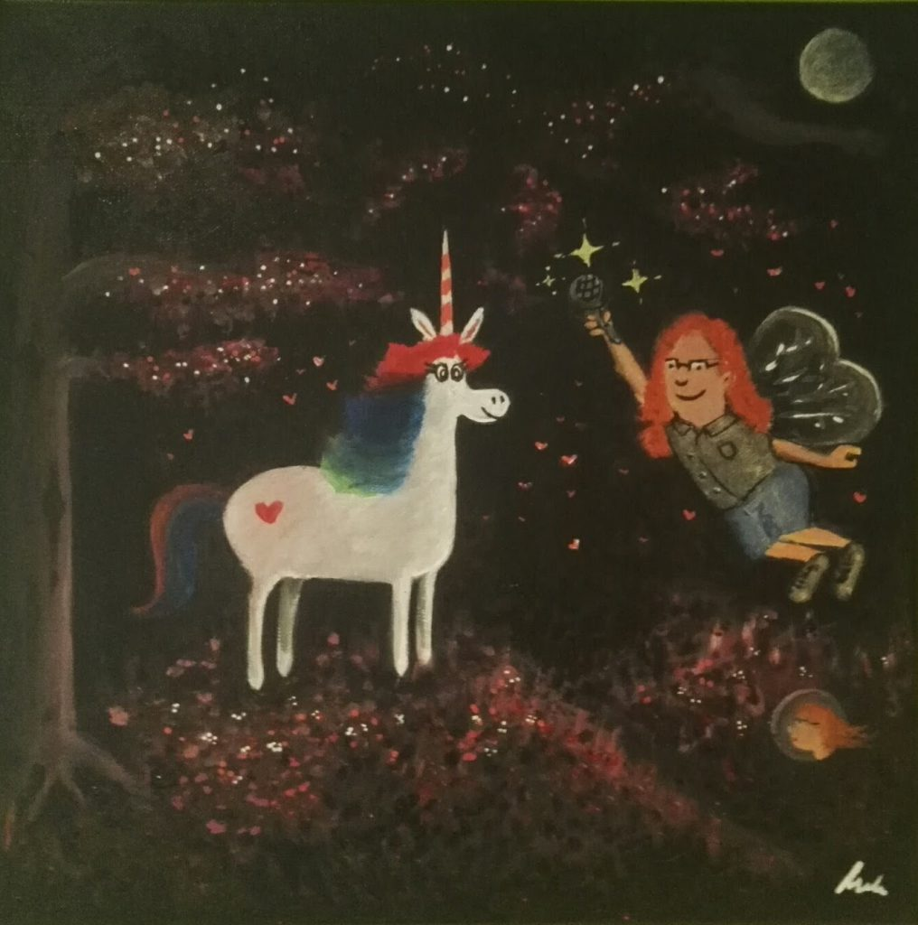 Painting of me handing a microphone to a unicorn by Anke Mehlert