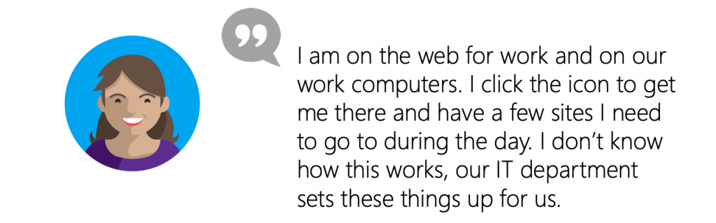 User Quote: I am on the web for work and on our work computers. I click the icon to get me there and have a few sites I need to go to during the day. I don't know how this works, our IT department sets these things up for us.