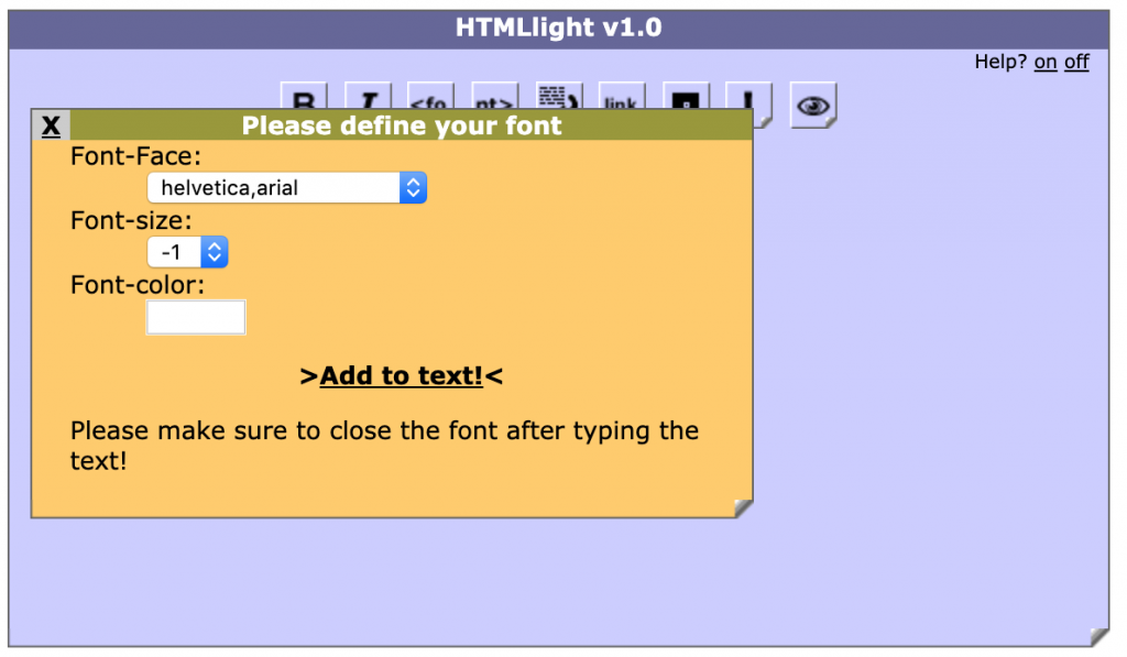 HTML Light font interface