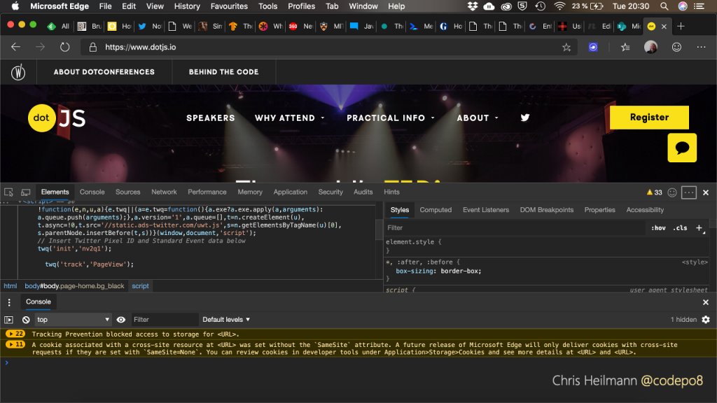screenshot of the developer tools in a browser