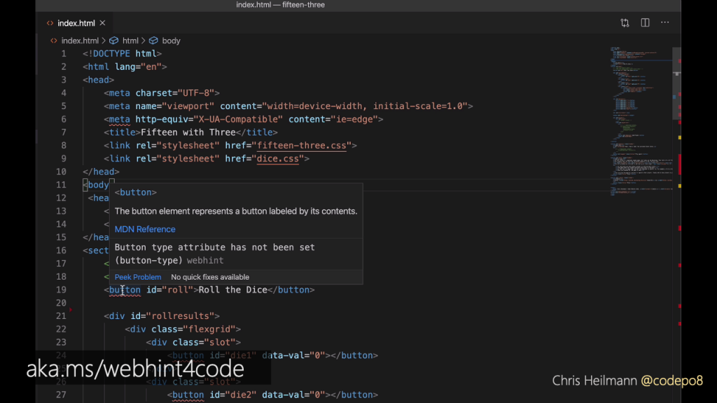 VSCode screenshot showing that webhint tells you that buttons need a type attribute of button to work