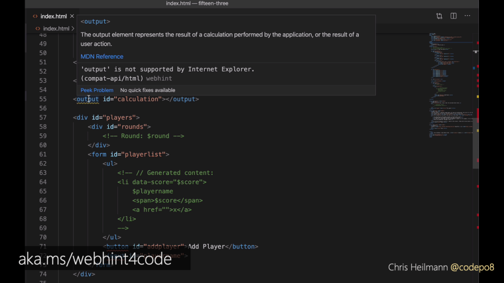 VSCode screenshot showing that webhint tells you that the output element is not supported by IE6