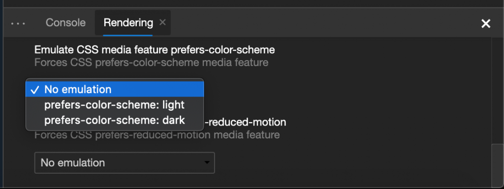 Colour scheme emulation menu in Microsoft Edge devtools