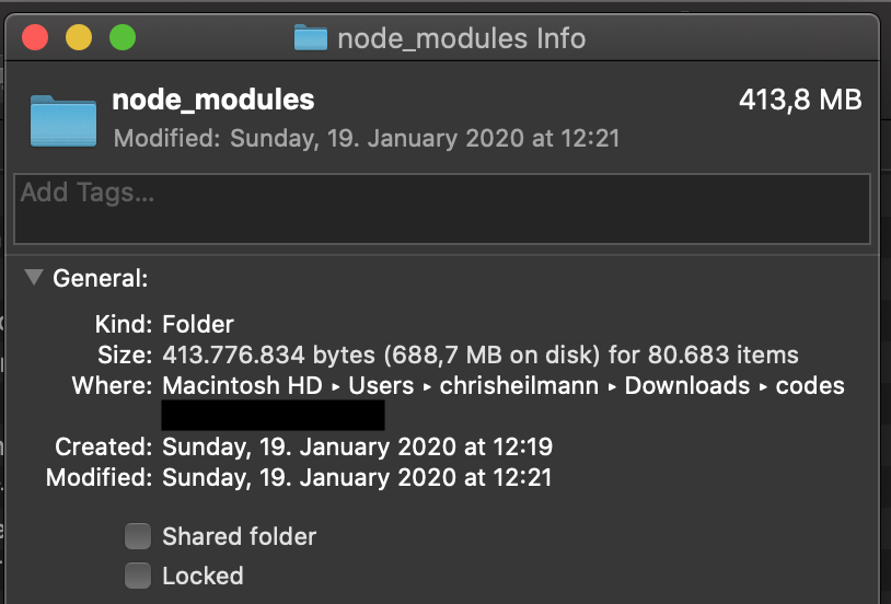 Node modules folder