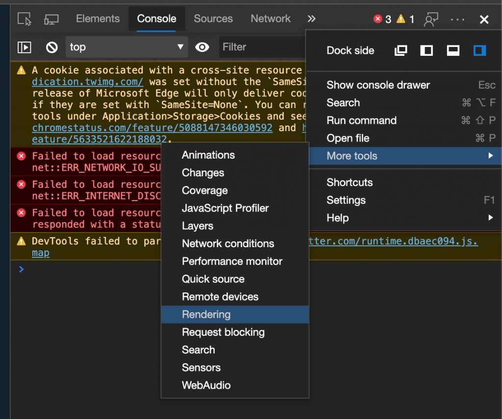 Finding the rendering menu in Microsoft Edge devtools