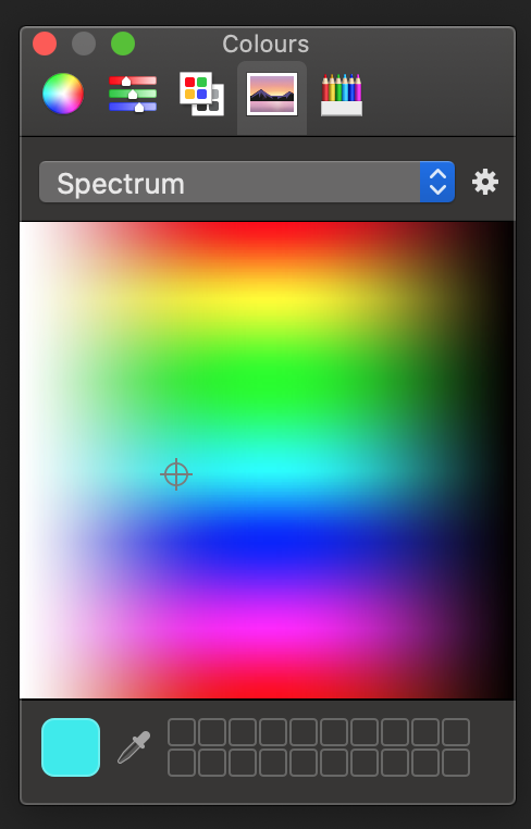 Picking a colour from the colour spectrum