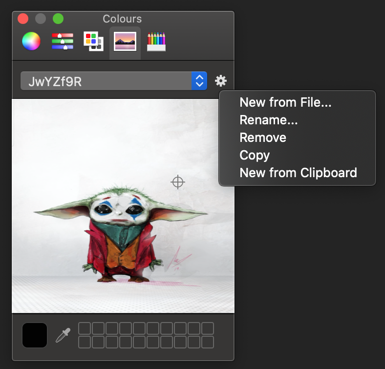 Get an image into the colour picker