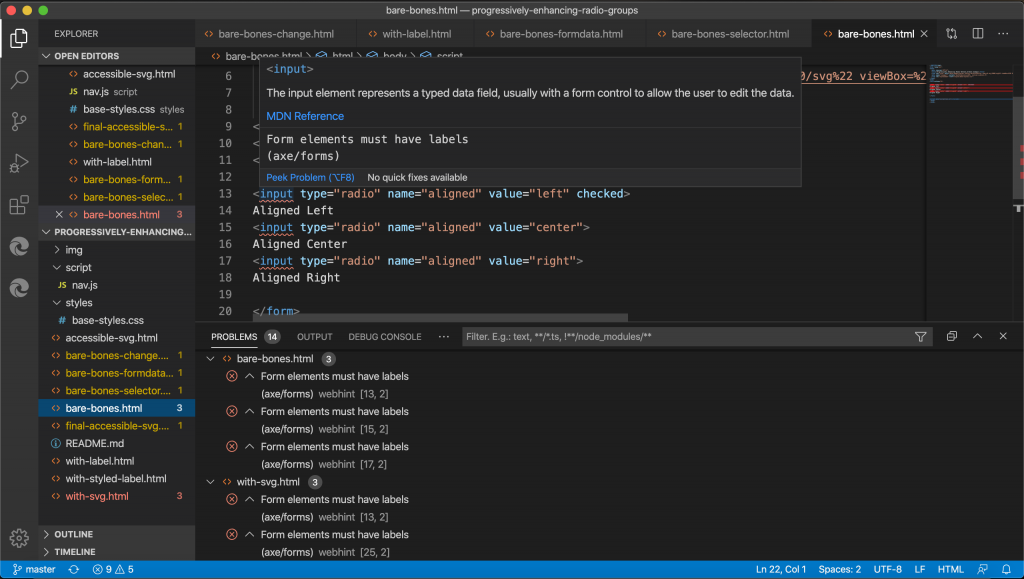 Webhint extension for Visual Studio Code showing in-line accessibility errors.