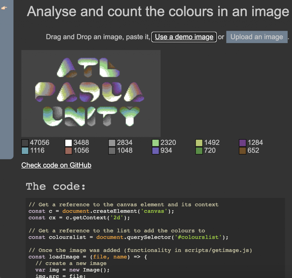 demo page of how to count the colours in an image