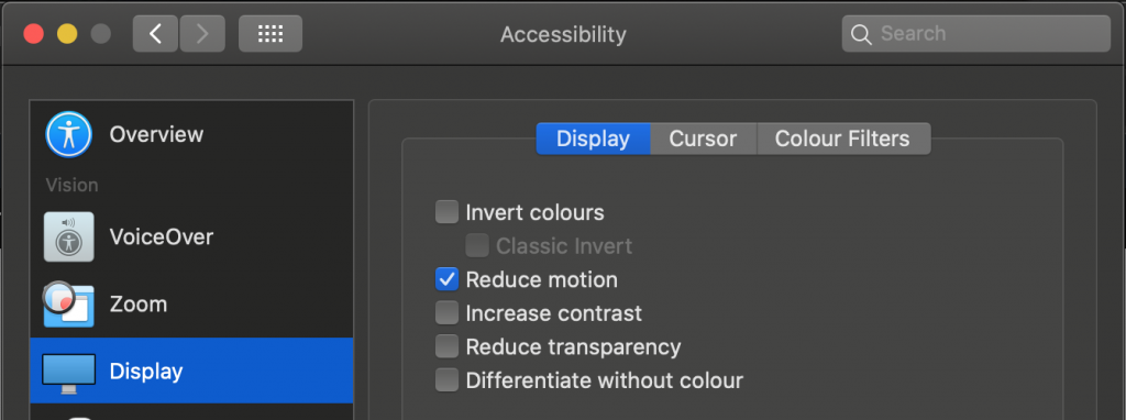 Motion turned off in MacOS
