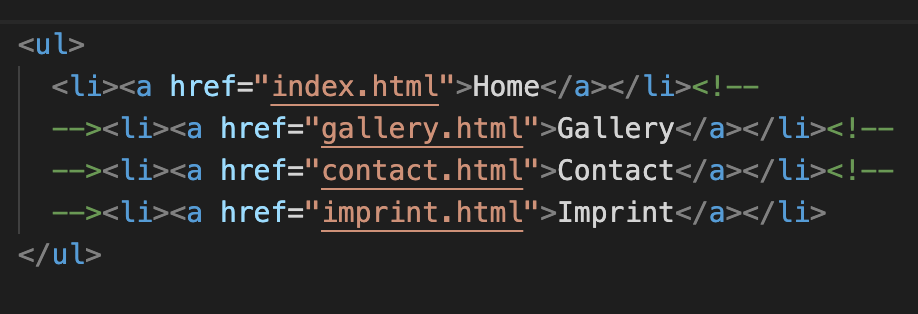 HTML with each line break in an HTML comment