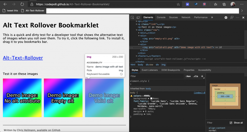 HTML overlay in Devtools showing accessibility info including alternative text