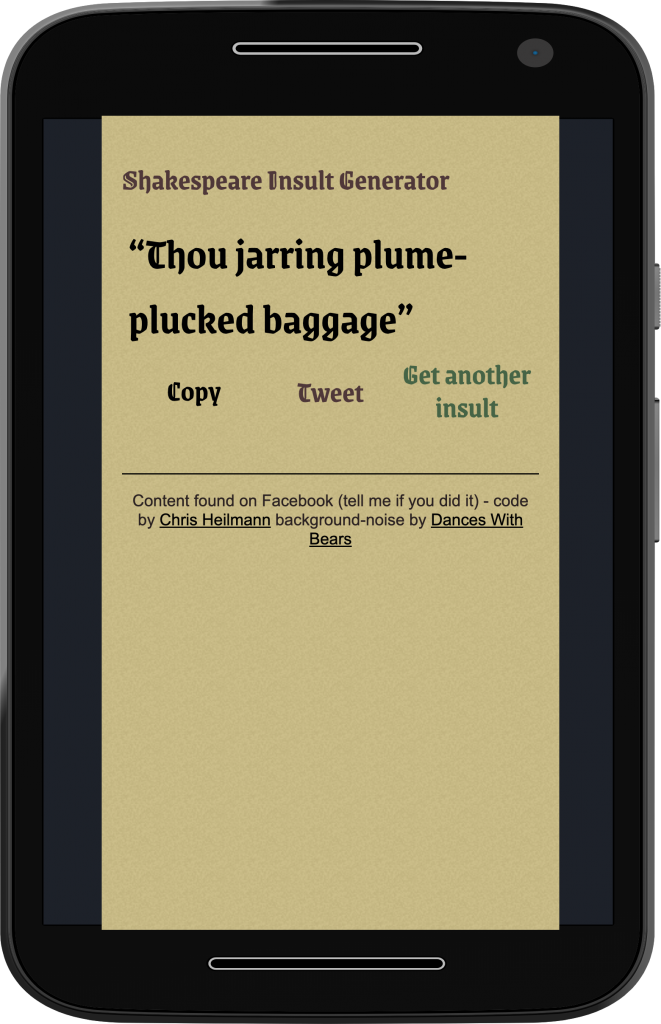 Shakespeare Insult Generator on Moto G4 (simulated)