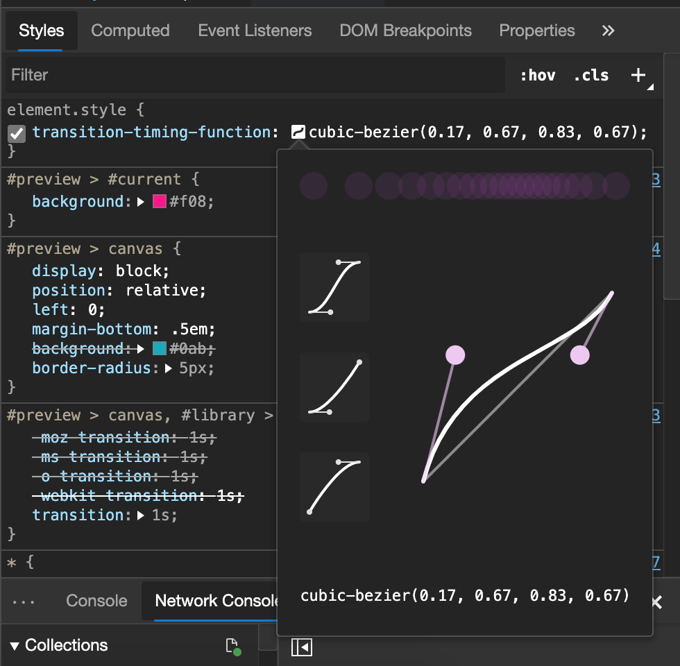 screenshot of the cubic bezier tool in developer tools