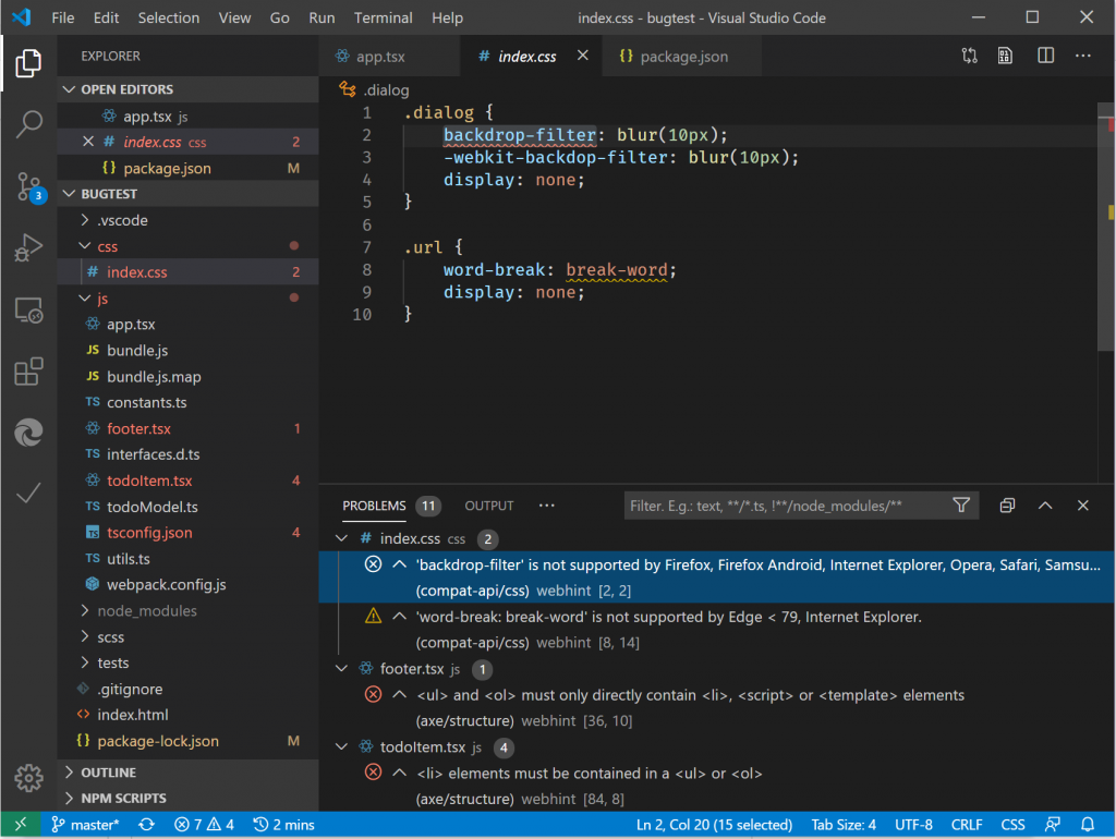 screenshot of webhint running inside visual studio code