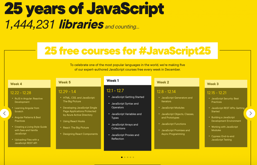 Overview of the JavaScript courses offered this December by Pluralsight