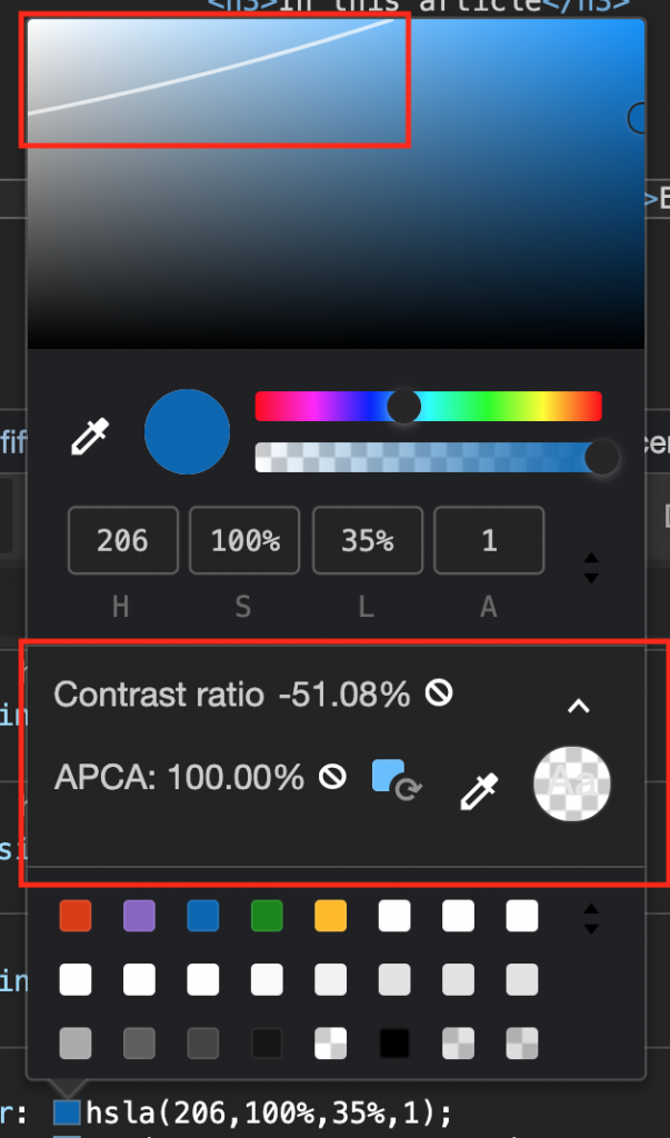 The colour picker with the new contrast options showing only one line in the colour field