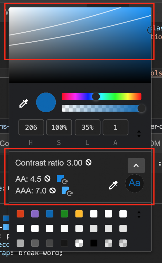 Colour picker showing possible colours with enough contrast