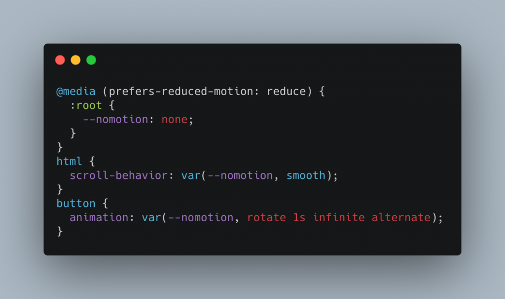 Conditional animation with CSS properties demo code