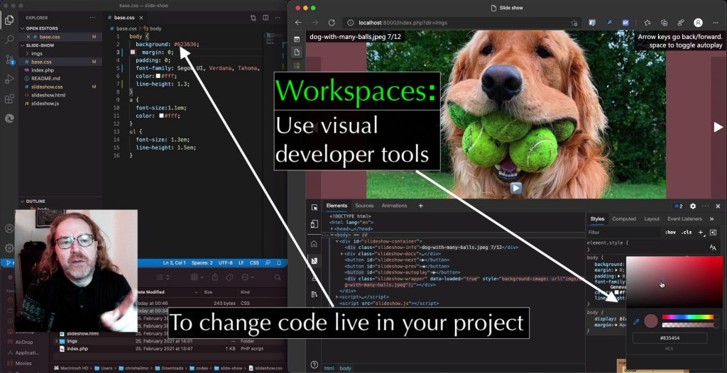 Workspaces: use visual developer tools to change live code in your project