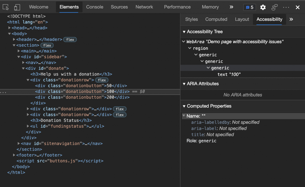 HTML page source shown in the developer tools with the accessibility tree showing up that the role of a DIV is generic and that it has no name, regardless of its text content
