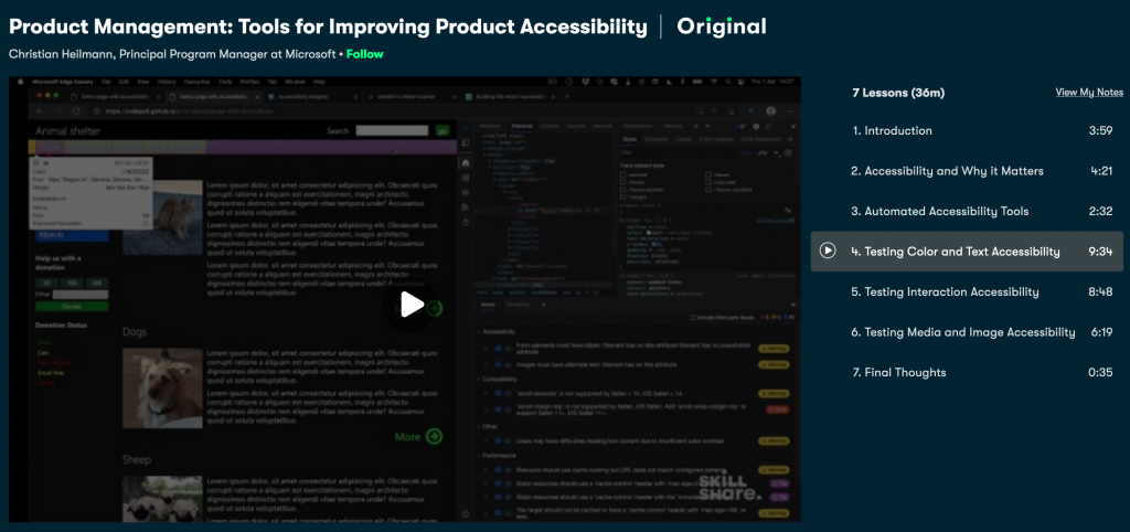 Screenshot of the Skillshare course on accessibility testing