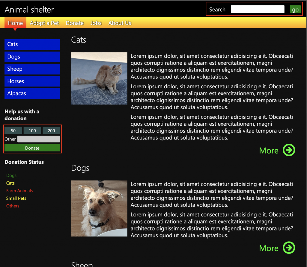 Forms in the demo page highlighted