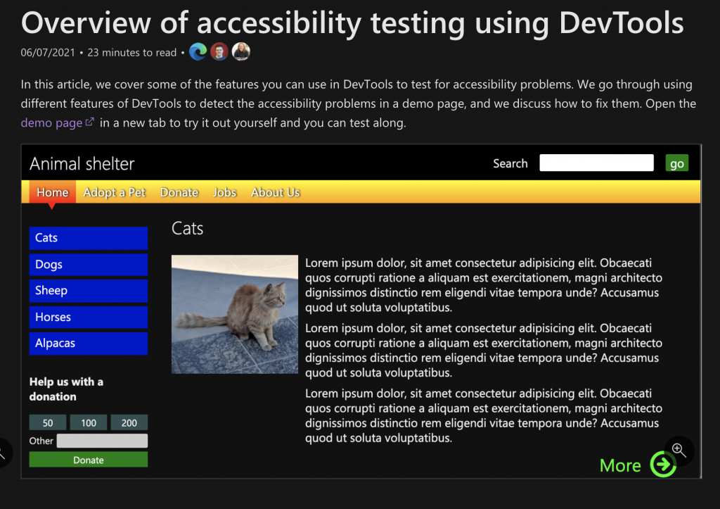The overview article introducing accessibility testing and fixing with Edge DevTools