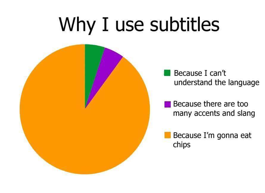 Why I use subtitles - 5% because I can't understand the language, 5% because there are too many accents and slang and 90% because I am going to each chips.